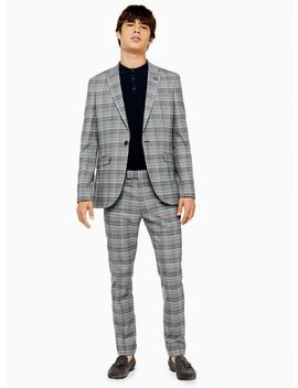 Grey And Purple Check Skinny Fit Suit Trousers by Topman