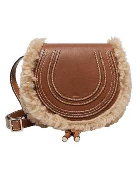 Chloé Marcie Mini Shearling Fur Trimmed Leather Saddle Cross Body Bag by Chloe