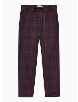 Burgundy And Navy Check Trousers by Topman