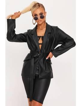 Black Faux Leather Blazer by I Saw It First