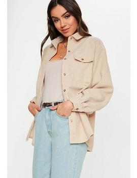 Camel Pocket Front Cord Shirt by Missguided