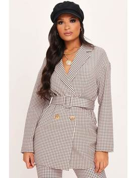 Beige Check Print Double Breasted Blazer by I Saw It First