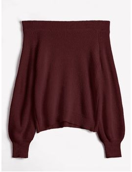 Off The Shoulder Lantern Sleeve Pullover Sweater   Red Wine by Zaful