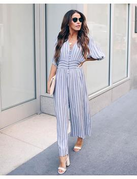 Spencer Striped Smocked Button Down Jumpsuit   Final Sale by Vici