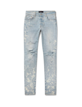 Thrasher Minus Skinny Fit Paint Splattered Distressed Stretch Denim Jeans by Amiri