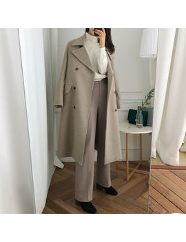 Uptownholic   Double Breasted Wool Blend Coat by Uptownholic