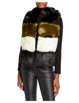 Twinset Faux Fur Colorblock Vest by Twinset