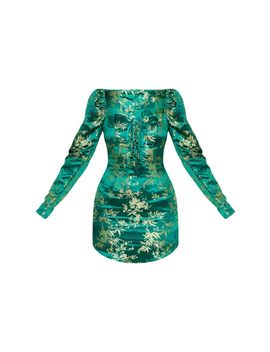 Emerald Green Jacquard Floral Lace Up Long Sleeve Bodycon Dress by Prettylittlething