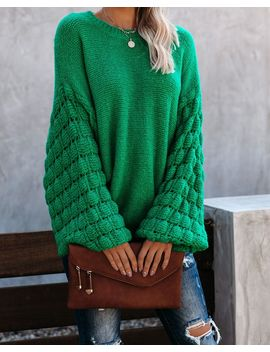 Better Homemade Balloon Sleeve Knit Sweater   Kelly Green by Vici
