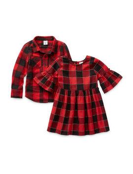 Okie Dokie Girls 3/4 Sleeve Bell Sleeve Plaid A Line Dress   Toddler by Okie Dokie