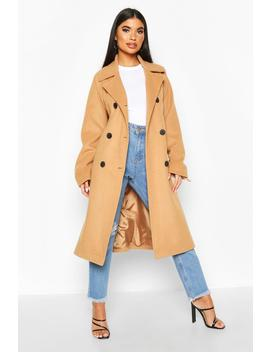 Petite Double Breasted Belted Wool Look Coat by Boohoo