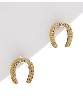 Kate Spade New York Wild Ones Plated Cz Horseshoe Studs by Kate Spade New York