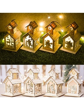 Christmas Led Light Wooden House Christmas Tree Hanging Ornaments Xmas Gift Xmas Home Festival Decoration by Wish