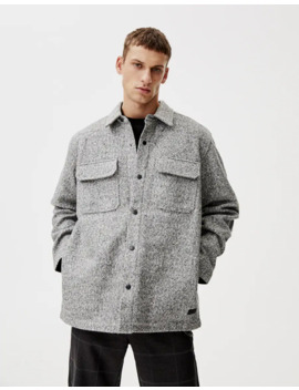 Grey Synthetic Wool Overshirt With Snap Buttons by Pull & Bear