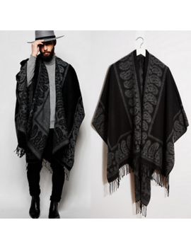 Men Tassels Cape Gothic Stylish Slit Coat Punk Cloak Outwear Boho Style Scarf H2 by Unbranded