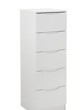 Legato 5 Drawer Tallboy Chest   White Gloss743/9643 by Argos