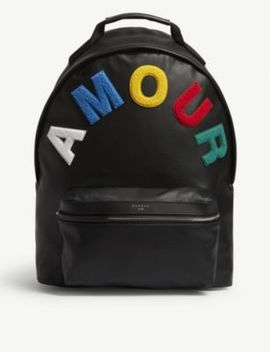 'amour' Embroidered Leather Backpack by Sandro