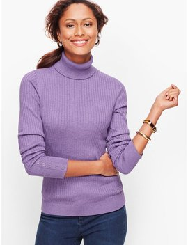 Button Cuff Ribbed Turtleneck Sweater by Talbots