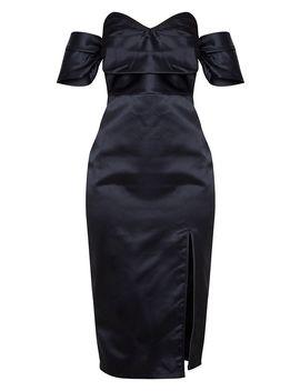 Black Pleated Bodice Satin Bardot Midi Dress by Prettylittlething