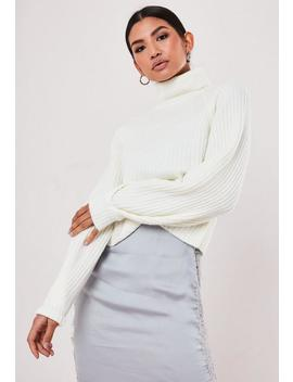 Petite White Rib Tuck Sleeve Roll Neck Jumper by Missguided