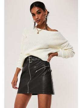 Petite Ivory Off Shoulder Knitted Sweater by Missguided