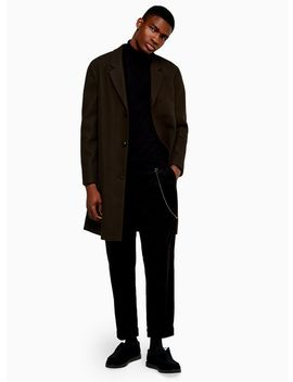 Khaki Single Breasted Overcoat by Topman