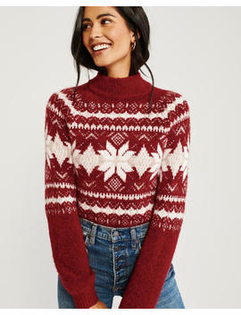 Fair Isle Mock Neck Sweater by Abercrombie & Fitch