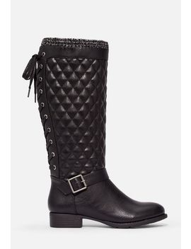 Allia Quilted Lace Up Back Boot by Justfab