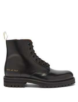 Lace Up Tread Sole Leather Ankle Boots by Common Projects