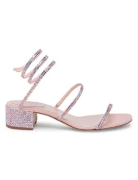 Cleo Ankle Wrap Crystal Embellished Satin Sandals by Rene Caovilla