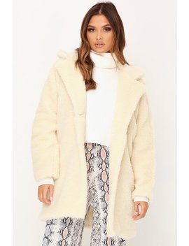 Cream Oversized Borg Coat by I Saw It First