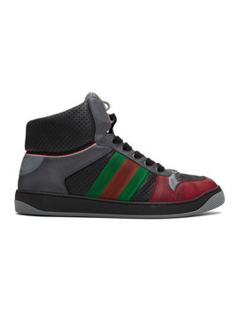 Black & Red Screener Sneakers by Gucci
