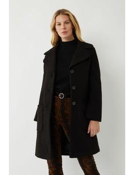 Warehouse Black Long Faux Fur Teddy Coat by Next
