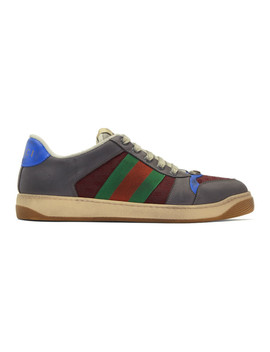 Grey & Burgundy Screener Sneakers by Gucci