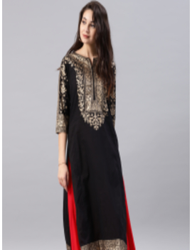 Black Printed A Line Kurta by Vishudh
