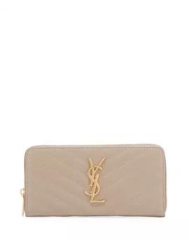 Saint Laurent Quilted Leather Ysl Zip Wallet by Saint Laurent
