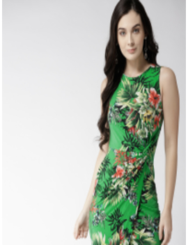Women Green Printed Wrap Dress by Forever 21
