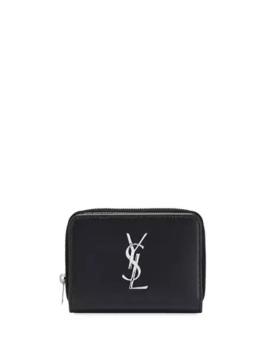 Saint Laurent Classic Leather Ysl Zip Wallet by Saint Laurent