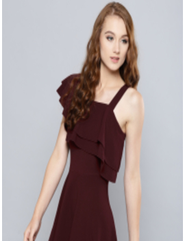 Women Burgundy Solid One Shoulder Fit And Flare Dress by Veni Vidi Vici