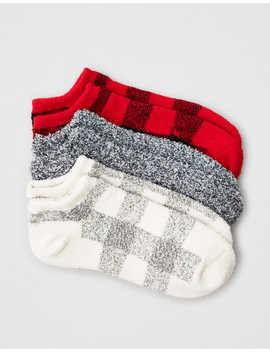 Aeo Cozy Buffalo Plaid Ankle Socks 3 Pack by American Eagle Outfitters