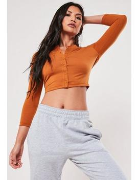 Tan Button Front Long Sleeve Crop by Missguided
