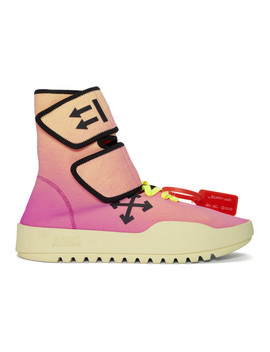 Pink & Yellow Moto Wrap Sneakers by Off White