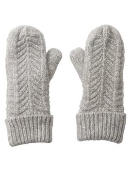 Love And Lore Chevron Knit Mittens Grey Heather by Love & Lore