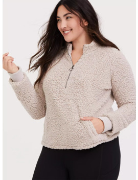 Tan Faux Sherpa Active Pullover by Torrid