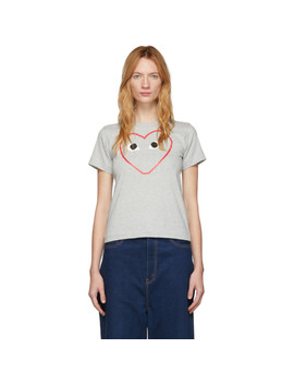 Grey Big Heart T Shirt by Comme Des GarÇons Play