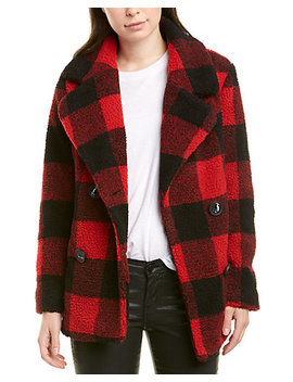 French Connection Fuzzy Buffalo Plaid Coat by French Connection