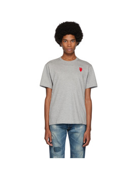 Grey Long Heart Patch T Shirt by Comme Des GarÇons Play