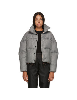 Black & White Houndstooth Down Cer Jacket by Moncler