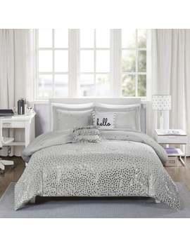 Intelligent Design Liv Metallic Triangle Print 5 Piece Comforter Set 3 Color Option by Id Intelligent Designs