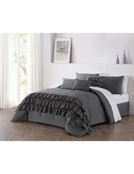 Reese Solid Tiered Ruffle Comforter Set With Throw Pillows by Generic